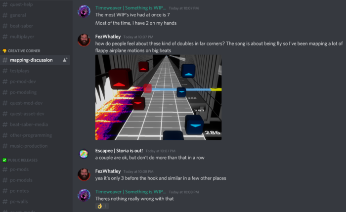 screenshot of mapping discussion chat