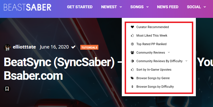 screenshot of built-in song searches on BeastSaber